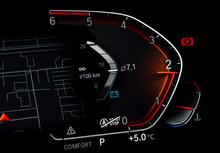 Close Up Of Car Tachometer Dis...