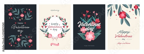 Obraz Set of Valentines Day Card Templates. Trendy Floral Style. Design with ornaments, hearts and ribbons - fototapety do salonu