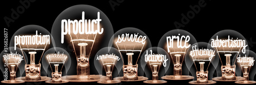 Cuadros en Lienzo Light Bulbs with Product Concept