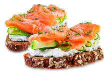 Smoked Salmon Ricotta Cheese  Rye Sandwich On A White Isolated Background