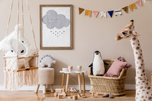 Stylish Scandinavian Interior Of Kid Room With Mock Up Poster Frame, Design Furnitures, Natural Toys, Hanging Colorful Flags, Plush Animals, Child Accessories And Teddy Bears. Modern Home Decor.