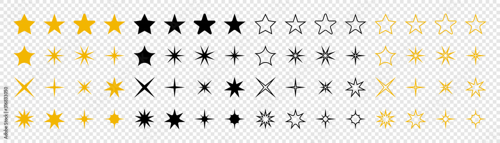 Fototapeta Stars collection. Star vector icons. Golden and Black set of Stars, isolated on transparent background. Star icon. Stars in modern simple flat style. Vector