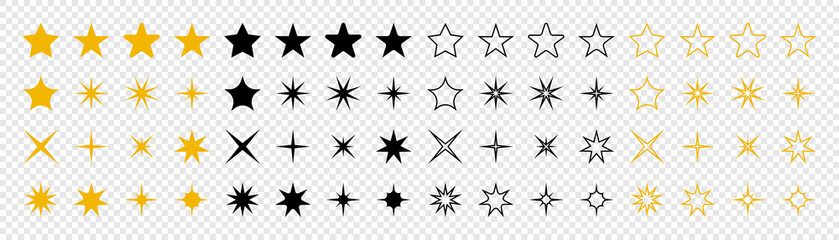 Stars collection. Star vector icons. Golden and Black set of Stars, isolated on transparent background. Star icon. Stars in modern simple flat style. Vector