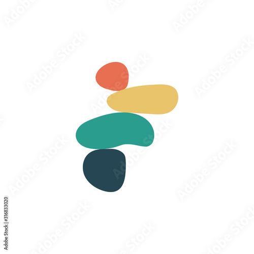 Balance concept. Illustration of balance made of stones. Balance stones logo Print. Modern Art Print. Printable illustration. Flat design. Vector