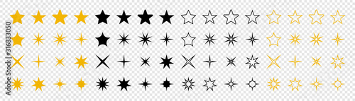 Obraz Stars collection. Star vector icons. Golden and Black set of Stars, isolated on transparent background. Star icon. Stars in modern simple flat style. Vector - fototapety do salonu