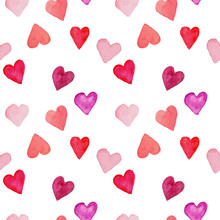 Vector Seamless Pattern Of Watercolor Painted Hearts On White, Best For Romantic Prints, Wrapping, Fabric And Wallpaper