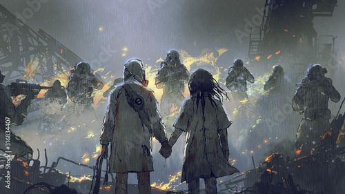 lovers holding hands looking at soldiers in the rainy night, digital art style, illustration painting