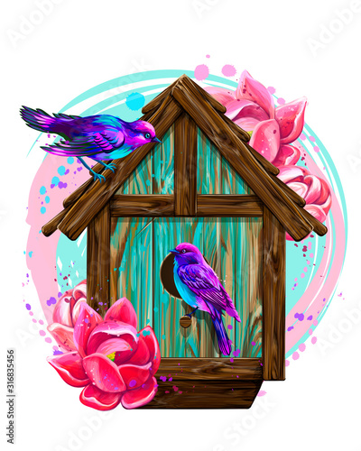 Slika na platnu Birdhouse with flowers and birds