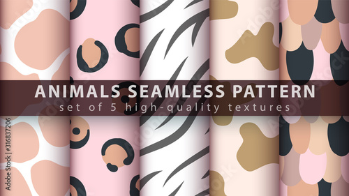 mata magnetyczna Animals seamless pattern set five items