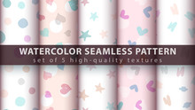 Watercolor Seamless Pattern Set Five Items