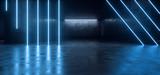 Fototapeta Scene - Neon Glowing Laser Beam Pantone Blue Reflective Vibrant Concrete Showcase Garage Car Room Parking Underground Warehouse Hallway 3D Rendering