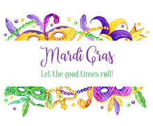 Mardi Gras Border With Traditi...