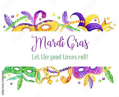 Canvas Print Mardi Gras border with traditional objects on top and bottom