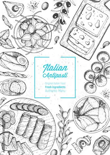 Widok z góry włoskie jedzenie. Zestaw włoskich antipasti. Szablon projektu menu żywności. Vintage ręcznie rysowane szkic ilustracji wektorowych. Grawerowany obraz