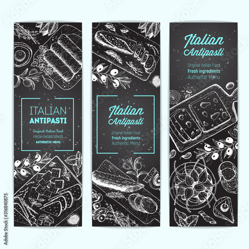 Italian Antipasto banner collection, vertical poster Wallpaper Mural