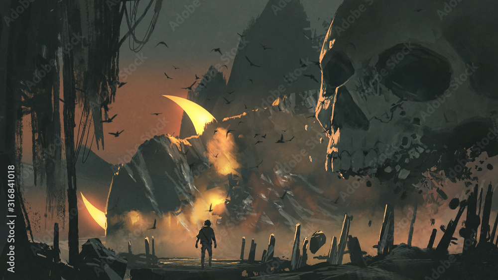 Fototapeta a man walks into a mysterious land with a giant skull in front of the entrance, digital art style, illustration painting