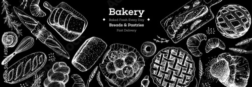 Fototapeta Bakery background. Bakery top view frame. Hand drawn sketch with bread, pastry, sweet. Bakery set vector illustration. Background design template . Engraved food image. Black and white package design. obraz