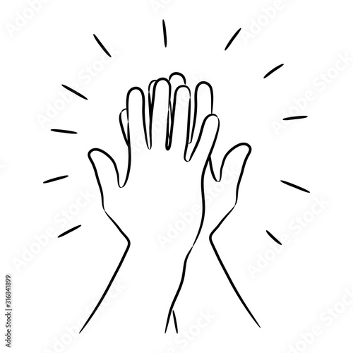 Informal greeting, two hands giving a high five, team result, friendly partners from the contour black brush lines different thickness on white background. Vector illustration. Fotobehang