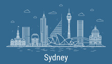 Sydney City, Line Art Vector I...