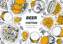 Pub Food Frame Vector Illustra...