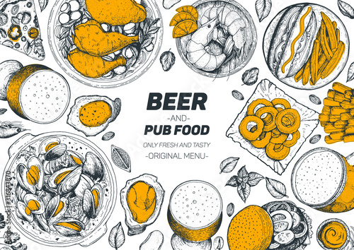 Pub food frame vector illustration. Beer, meat, mussels, fast food and snacks hand drawn. Food set for pub design top view. Vintage engraved illustration for beer restaurant.