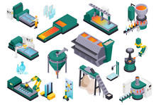 Glass Production Isometric Col...