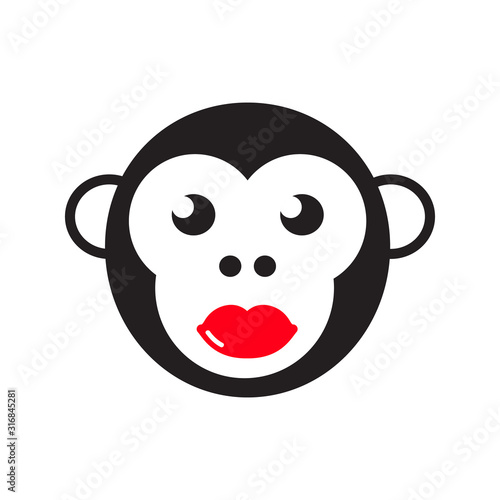 Photo Face of a monkey with bright red lips. Vector illustration.