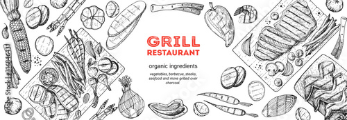 Obraz Grilled meat and vegetables top view frame. Vector illustration. Engraved design. Hand drawn illustration. Grill restaurant menu design template. Food on the grill. - fototapety do salonu
