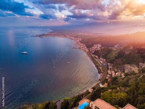 Taormina, Sicily Italy sunset landscape Wallpaper Mural