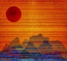 Modern Painting. Red Sunset Ov...