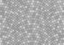 Seamless Gray Texture Of Radial Street Pavement. Repeating Circle Pattern Of Grey Cobble Stone Background