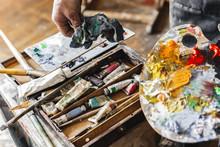 Male Painter At Art Studio Ind...