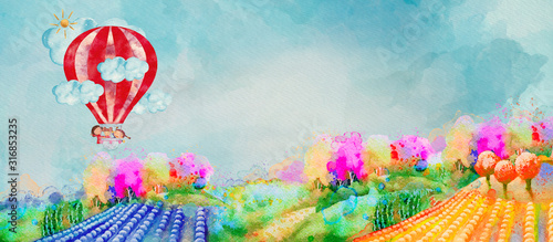 Children in air balloon. Watercolor illustration for children Wallpaper Mural