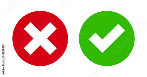 Check mark and cross mark icon on green and red flat button Wallpaper Mural