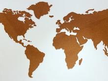 Cork Plain World Map Shape On ...