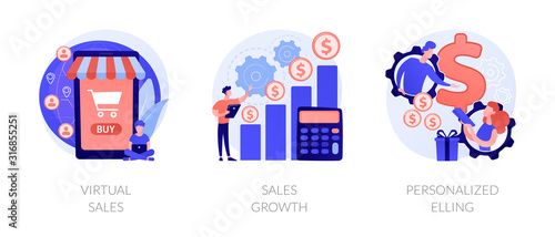 Marketing strategy planning web icons cartoon set. Commerce income analysis. Virtual sales, sales growth, personalized selling metaphors. Vector isolated concept metaphor illustrations - 316855251