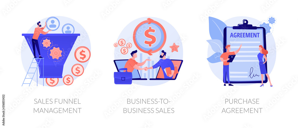 Fototapeta Business partnership cartoon icons set. Lead generation. Sales funnel management, business-to-business sales, purchase agreement metaphors. Vector isolated concept metaphor illustrations