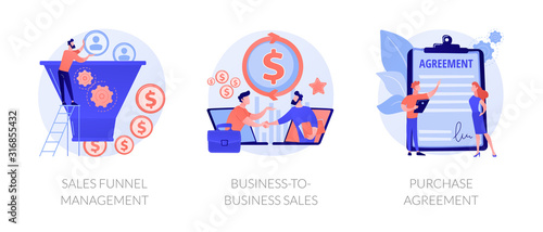 Fototapeta Business partnership cartoon icons set. Lead generation. Sales funnel management, business-to-business sales, purchase agreement metaphors. Vector isolated concept metaphor illustrations obraz
