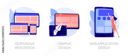 Adaptive programming icons set. Multi device development, software engineering. Responsive web design, graphic design, web application design metaphors. Vector isolated concept metaphor illustrations - 316855675