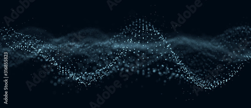 Abstract technology flow background. Futuristic dots background with a dynamic wave. 3d rendering.