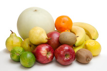 Pile Of Various Fruits Isolate...