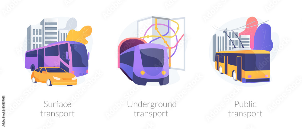 Urban passengers transportation icons set. City commute bus, subway. Surface transport, underground transport, public transport metaphors. Vector isolated concept metaphor illustrations.