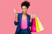 Cheerful Black Woman With Shop...