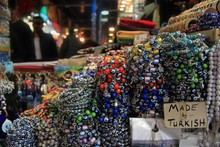 Colorful Bracelets And Evil Eye Amulets In Grand Bazaar, Istanbul Turkey