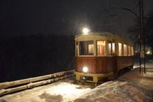Nostalgie-Straßenbahn Im Winter