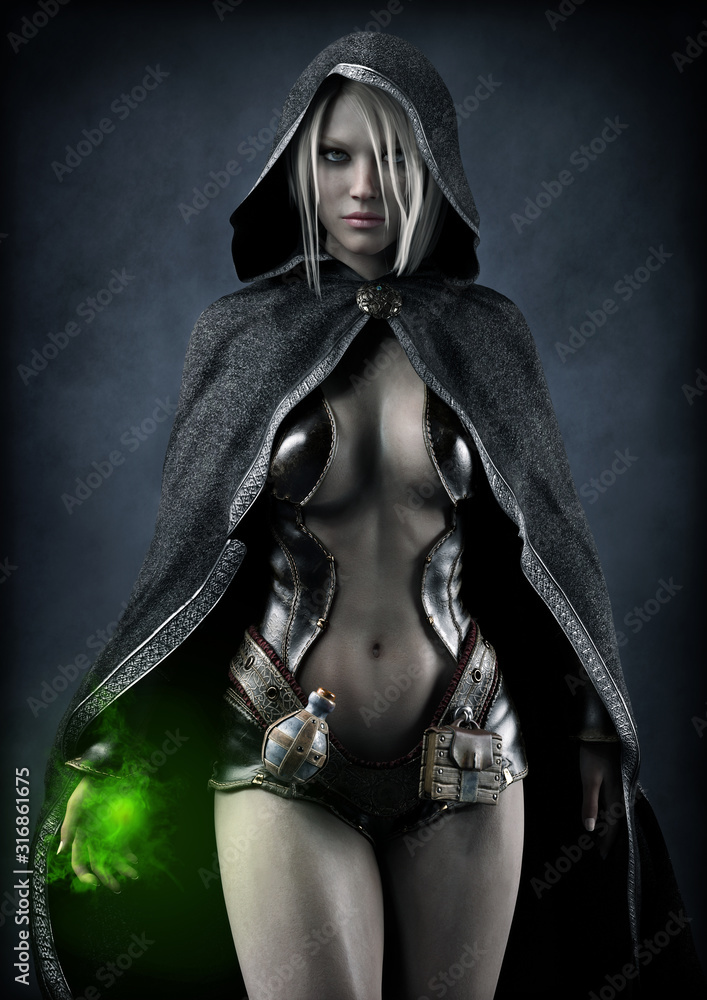 Fototapeta Portrait of a powerful fantasy dark elf female sorceress preparing a spell ,with white long hair and wearing a leather seductive outfit with dark hooded cloak. 3d rendering . Fantasy illustration