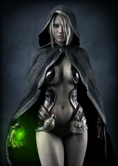 Portrait of a powerful fantasy dark elf female sorceress preparing a spell ,with white long hair and wearing a leather seductive outfit with dark hooded cloak. 3d rendering . Fantasy illustration