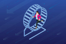 Isometric Businessman Running In A Hamster Wheel. The Business As Hard Work, Motivation And Success Concept.