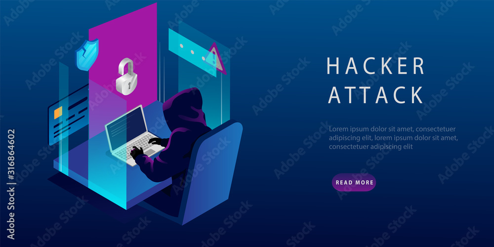 Fototapeta Isometric Internet Hacker Attack and Personal Data Security Concept. The Hacker at the Computer. Computer Security Technology. E-mail Spam Viruses, Bank Account Hacking. Vector Illustration