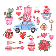 Big Valentines Day Hand Drawn Elements Set. Watercolor Illustrations Of Pink And Red Hearts, Special Delivery Car, Holiday Cupcake, Arrows, Rose Bouquet, Key And Heart Padlock, Isolated On White
